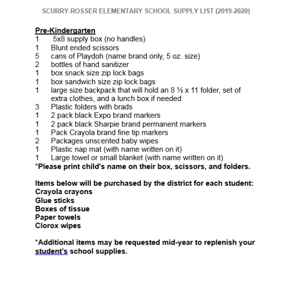 Parent Resources   School Supply Lists