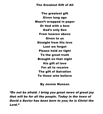 The Greatest Gift  A Christmas Poem