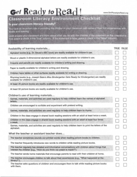 Get Ready To Read! Classroom Literacy Environment Checklist