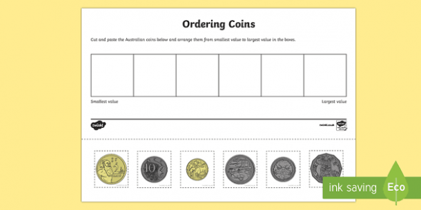 Australian Coin Ordering Cut And Paste Activity Sheet