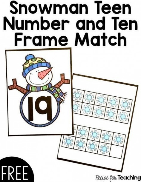 Free Snowman Teen Number And Ten Frame Match Card Game!