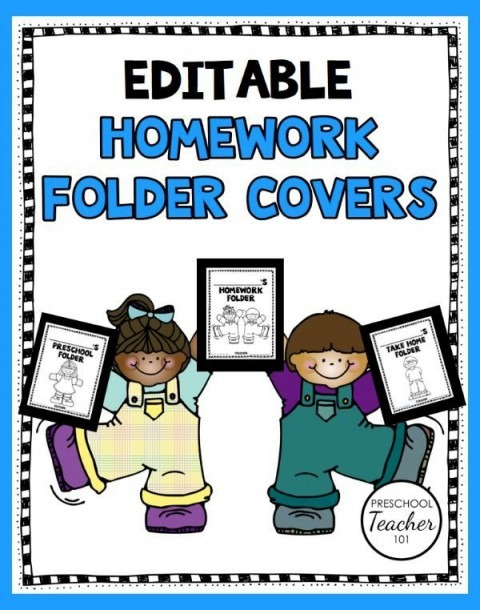 Printable Preschool Homework Folder Covers