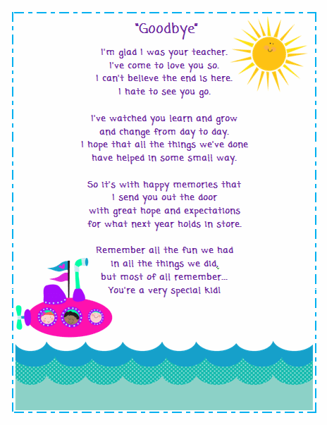 Free Goodbye Poem For Your Students