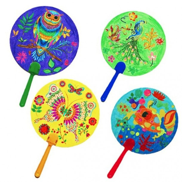 4pcs Diy Coloring Kids Cartoon Hand Fan Paper Art Craft Material