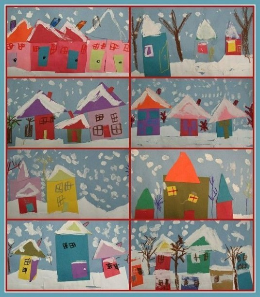 Shapes  Winter Art  Great For Kindergarten Shape House Lesson