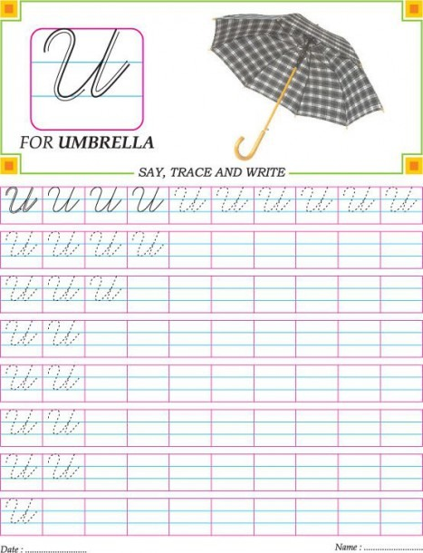 Cursive Capital Letter U Practice Worksheet