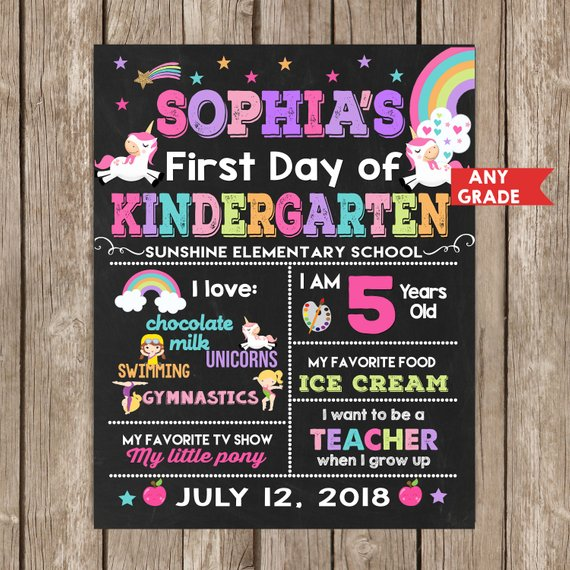 Unicorn First Day Of School Chalkboard Sign Any Grade , Back To