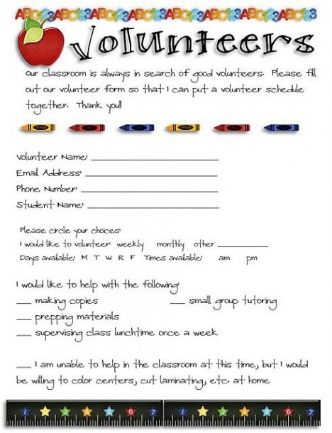 Nice Volunteer Form To Reach Out To Parents To Join Your Pto Or