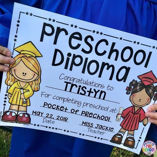 Editable Preschool Diploma & Completion (pre