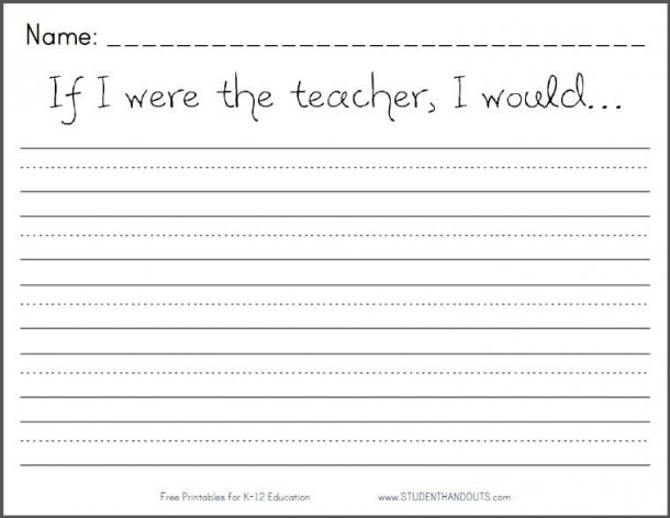 If I Were The Teacher, I Would Printable Writing Prompt