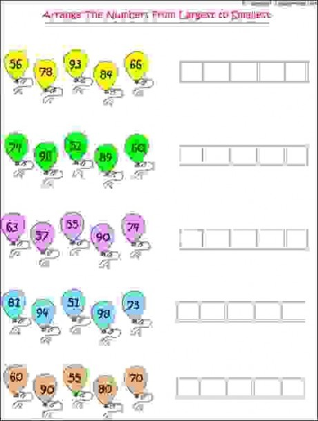 Maths Worksheets For Grade 1 Kids To Practice Arranging Of Numbers