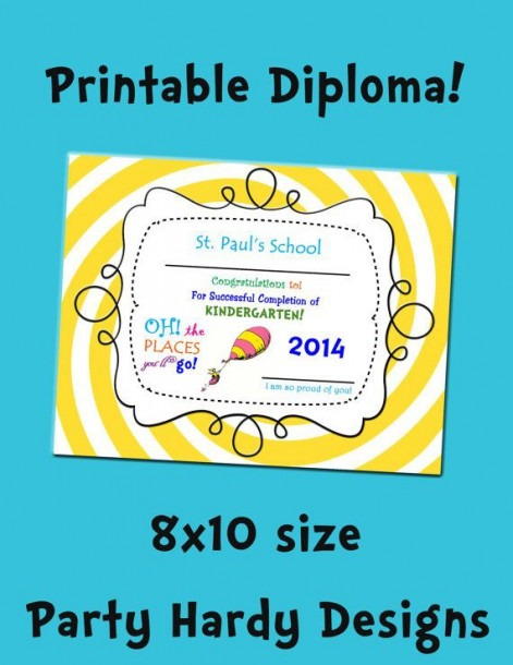 Oh The Places You Will Go Printable Diploma By Www