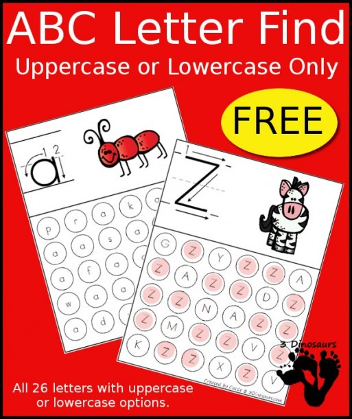 Free Abc Letter Find Uppercase Or Lowercase Printable