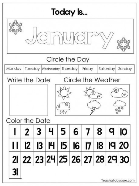12 Printable Preschool Calendar Worksheet Pages In A Pdf Download