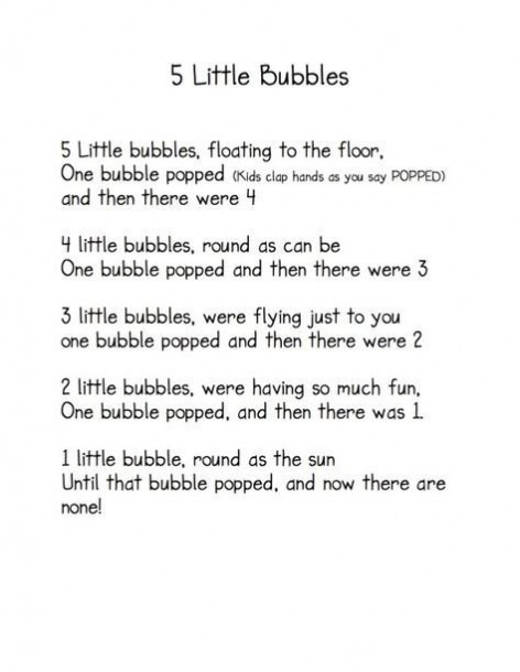 5 Little Bubbles  Poem   Fingerplay (from Kindergarten Nana