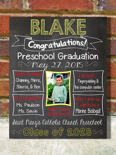 Preschool Or Kindergarten Graduation Custom Print Chalkboard Sign