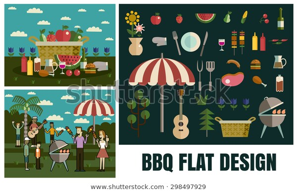 Barbecue Party Picnic Flat Iconsvector Flat Stock Vector (royalty