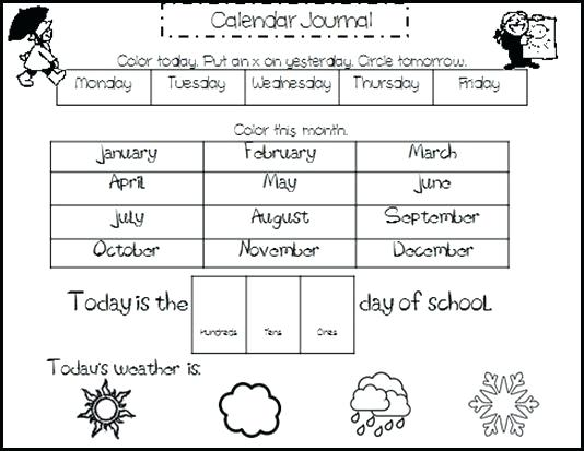 Calendar Worksheets For Kids Kindergarten Calendar Worksheets The