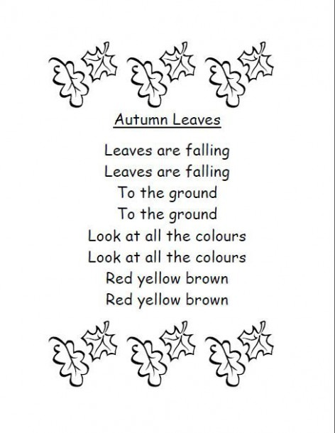 Autumn Leaves Poem  Can Sing To The Tune Of  Are You Sleeping