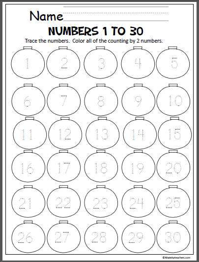 Christmas Ornaments Number Writing (1