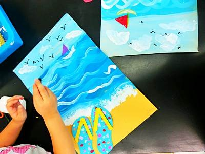 Kindergarten – Summer Beach Painting – Art Room Adventures