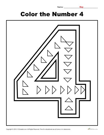 Color The Number 4