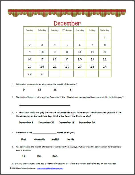 December Calendar Worksheet