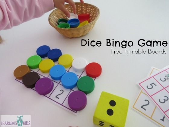 Subitising Printable Dice Game