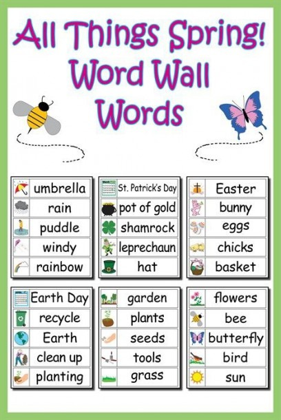 30 Spring Word Wall Words