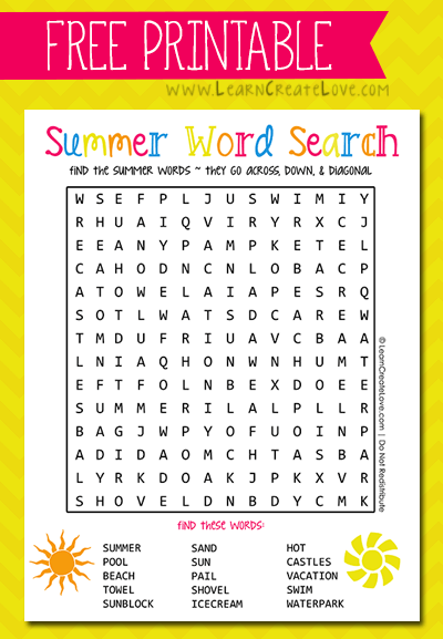 Printable Summer Word Search From Learncreatelove Com