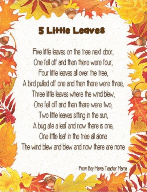 5 Little Leaves Craft & Poem For Fall