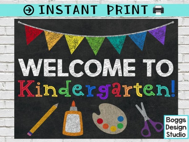 Welcome To Kindergarten Sign Back To School Sign Classroom
