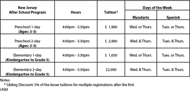 Nj After School Schedule Tuition V9