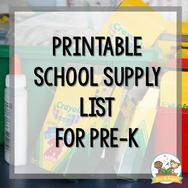 School Supply List For Pre