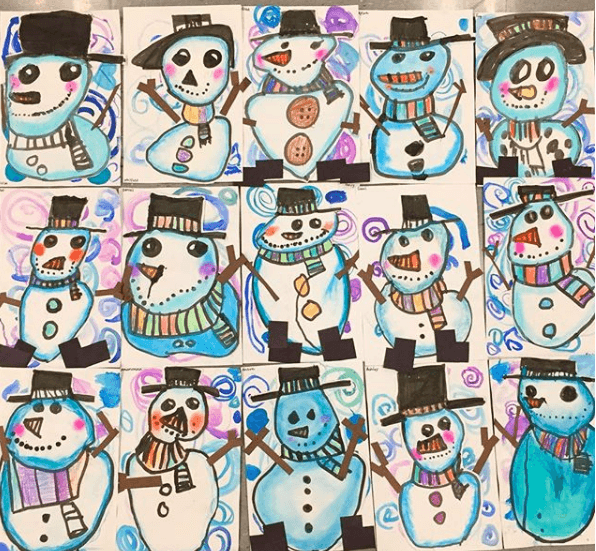 Cassie Stephens  In The Art Room  Kindergarten Snowmen!