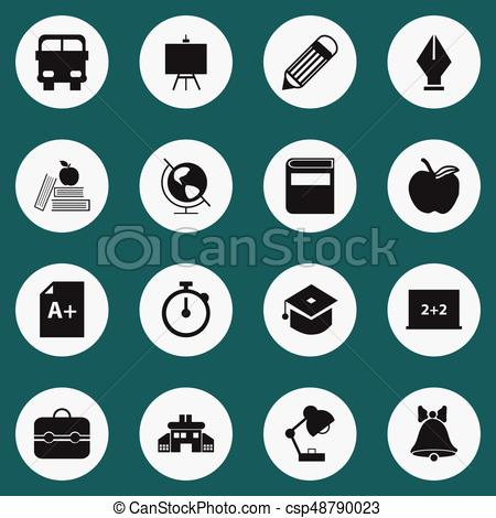 Set Of 16 Editable School Icons  Includes Symbols Such As