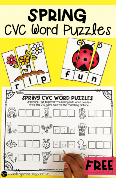 Spring Cvc Word Puzzles For Literacy Centers