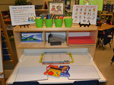 A Kindergarten Writing Center In Action