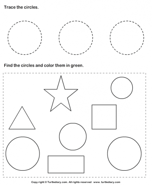 Trace Circles And Color Them Worksheet