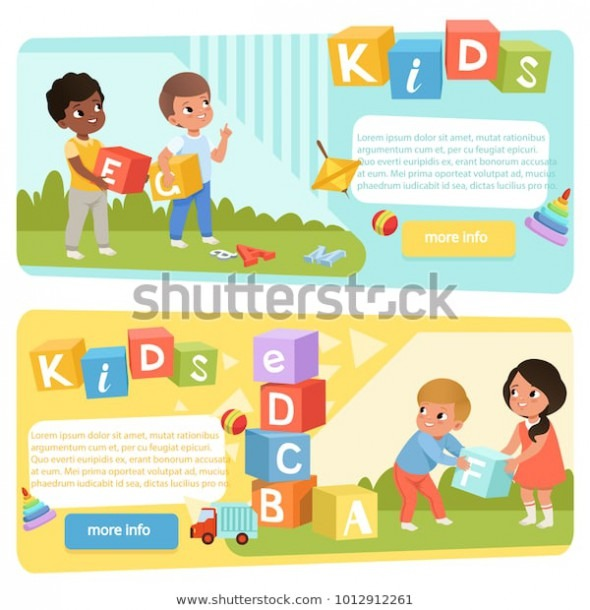 Two Banners Preschool Kids Colored Abc Stock Vector (royalty Free