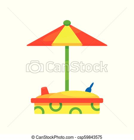 Wooden Sandbox With Colorful Umbrella  Outdoor Equipment For
