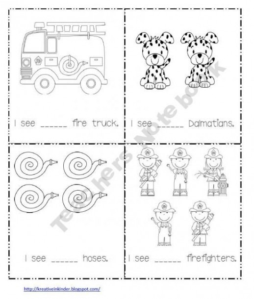 Free Counting Worksheet Book Fire Safety Theme