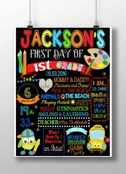 Boys First Day Of School Sign Girls 1st Day By Customprintablesny