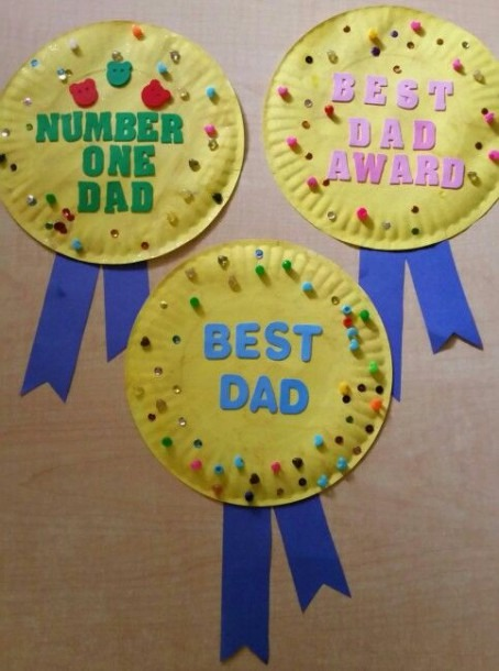 Cute Preschool Father's Day Craft  Paper Plate, Paint, Beads