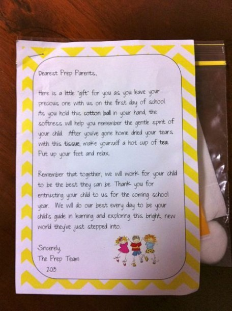 Child Makes – First Day Of School Letter To Parents