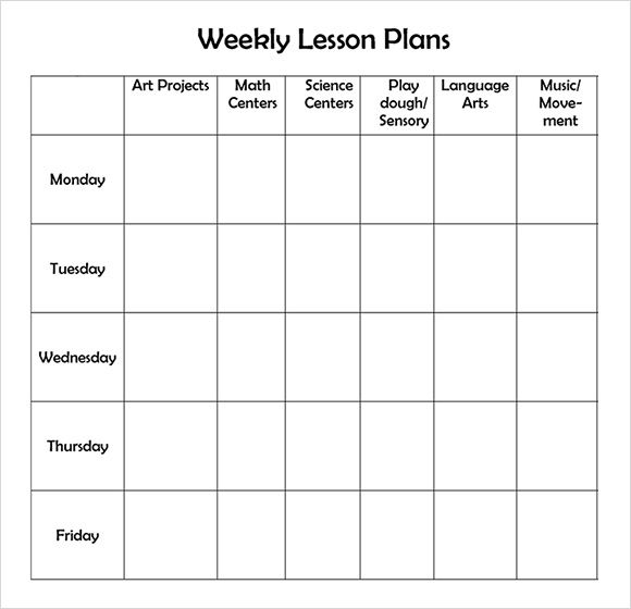 Free Printable Weekly Lesson Plan Template …