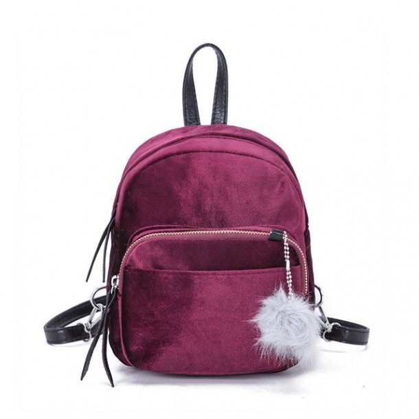 2018 New Women Soft Velvet Solid Colors Backpack School Elegant