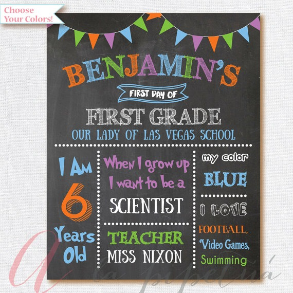 First Day Of School Sign   Chalkboard School Poster  First Day Of