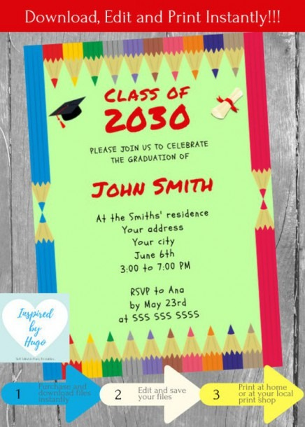 Kids Graduation Invitation, Kindergarten Graduation Party