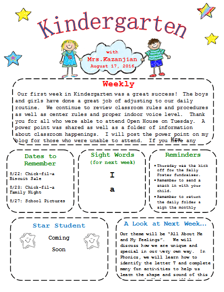 Kindergarten Newsletter Template